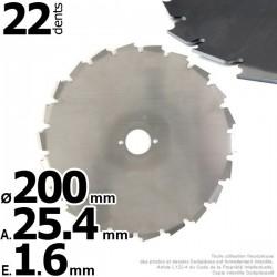 Lame 22 dents à gouges Ø de coupe 200 mm. Ale : 25,4 mm