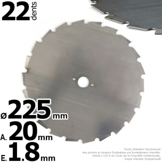 Lame 24 dents à gouges Ø 225 mm. Al 20 mm. Ep 1,8 mm