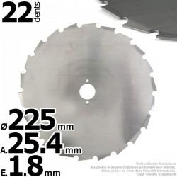 Lame 24 dents à gouges Ø de coupe 225 mm. Ale : 25,4 mm