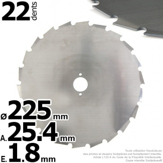 Lame 24 dents à gouges Ø 225 mm. Al 25,4 mm. Ep 1,8 mm
