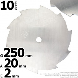 Lame débroussailleuse 10 dents Ø coupe 250 mm. Ale : 20 mm