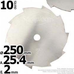 Lame débroussailleuse 10 dents Ø coupe 250 mm. Ale : 25,4 mm