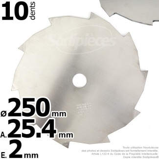 Lame 10 dents. Ø 250 mm. Al 25,4 mm. Ep 2 mm.