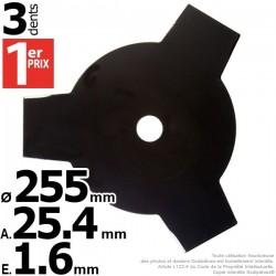 Lame débroussailleuse 3 dents Ø coupe 255 mm. Ale : 25,4 mm