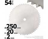 Lame 54 dents scie. Ø 250 mm. Al 20 mm. Ep 2 mm.