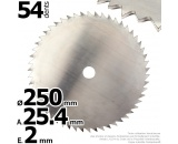 Lame 54 dents scie. Ø 250 mm. Al 25,4 mm. Ep 2 mm.