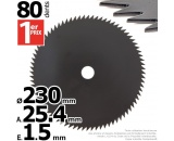 Lame 80 dents scie. Ø 230 mm. Al 25,4 mm. Ep 1,5 mm.