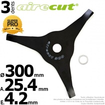 Aire Cut. Lame 3 dents. Ø 300 mm. Al 25,4 mm. Ep 4,2 mm.