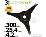 Lame 3 dents. Aire Cut. Ø 300 mm. Al 25,4 mm. Ep 4,2 mm.