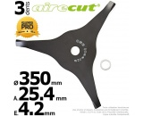 Lame 3 dents. Aire Cut. Ø 350 mm. Al 25,4 mm. Ep 4,2 mm.