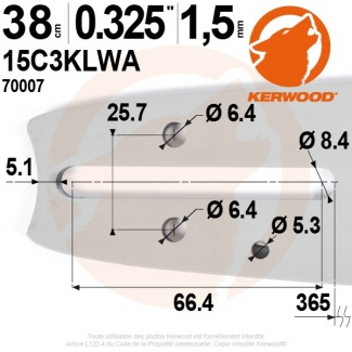 "Guide tronçonneuse Kerwood. 38 cm. 0,325"". 1,5 mm. 15C3KLWA"