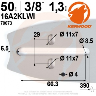 "Guide tronçonneuse Kerwood. 50 cm. 3/8"". 1,3 mm. 20A2KLWI"