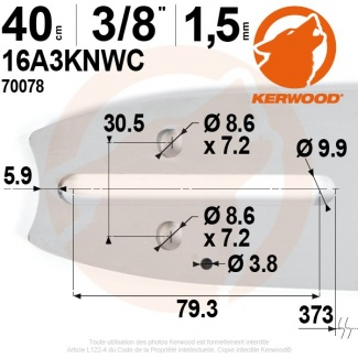 "Guide tronçonneuse Kerwood. 40 cm. 3/8"". 1,5 mm. 16A3KNWC"