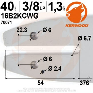 "Guide tronçonneuse Kerwood. 40 cm, 3/8""LP. 1,3 mm. 16B2KCWG"