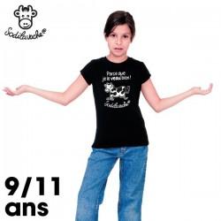 """T. Shirt enfant. Taille 9/77 ans. Haute qualité, 100% coton 190g. Coloris : noir. Slogan : """"Parce que je le veau bien !"""""""