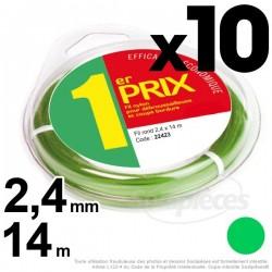 Fil débroussailleuse 1er Prix, rond 1,3 mm x 10 m. Par 10
