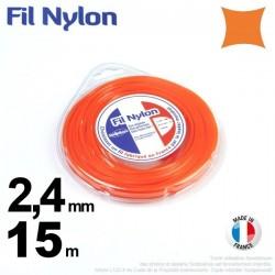 Fil débroussailleuse nylon carré. 2,4 mm x 15 m. Coque. Orange