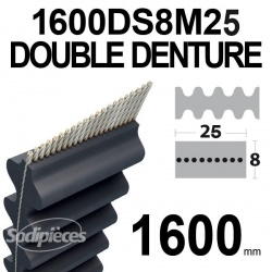 Courroie 1600DS8M25 Double Denture. 25 mm x 1600 mm.