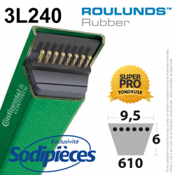 Courroie tondeuse 3L240 Roulunds Continental 9,5 x 6 x 610 mm