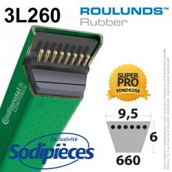 Courroie tondeuse 3L260 Roulunds Continental 9,5 x 6 x 660 mm