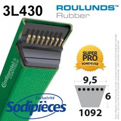 Courroie tondeuse 3L430 Roulunds Continental  9,5 x 6 x 1092 mm