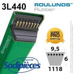 Courroie tondeuse 3L440 Roulunds Continental  9,5 x 6 x 1118 mm
