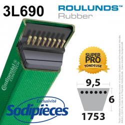 Courroie tondeuse 3L690 Roulunds Continental  9,5 x 6 x 1753 mm