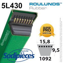 Courroie tondeuse 5L430 Roulunds Continental  15,8  x 9,5 x 1092 mm