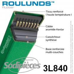 Courroie tondeuse 3L840 Roulunds Continental. 9.5 x 6. L. XXXX mm