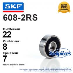 Roulement à billes 608-2RS SKF. Double étanchéité