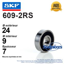 Roulement à billes 609-2RS SKF. Double étanchéité