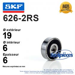 Roulement à billes 626-2RS SKF. Double étanchéité