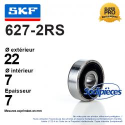 Roulement à billes 627-2RS SKF. Double étanchéité