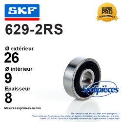 Roulement à billes 629-2RS SKF. Double étanchéité
