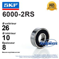 Roulement à billes 6000-2RS SKF. Double étanchéité
