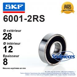 Roulement à billes 6001-2RS SKF. Double étanchéité