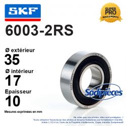 Roulement à billes 6003-2RS SKF. Double étanchéité