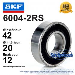 Roulement à billes 6004-2RS SKF. Double étanchéité