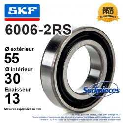 Roulement à billes 6006-2RS SKF. Double étanchéité