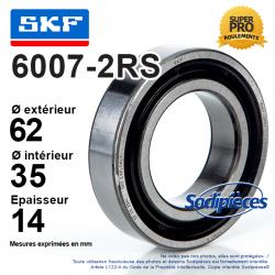 Roulement à billes 6007-2RS SKF. Double étanchéité
