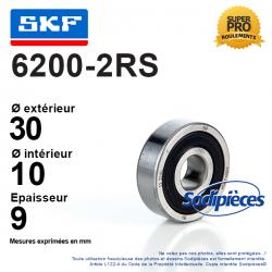 Roulement à billes 6200-2RS SKF. Double étanchéité