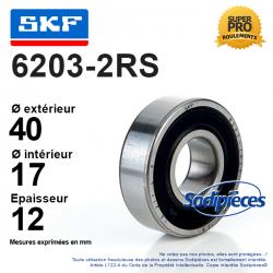 Roulement à billes 6203-2RS SKF. Double étanchéité