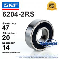 Roulement à billes 6204-2RS SKF. Double étanchéité