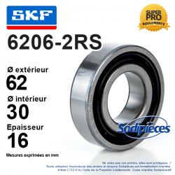 Roulement à billes 6206-2RS SKF. Double étanchéité