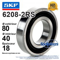 Roulement à billes 6208-2RS SKF. Double étanchéité