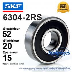 Roulement à billes 6304-2RS SKF. Double étanchéité