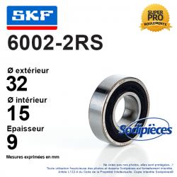 Roulement à billes 6002-2RS SKF. Double étanchéité