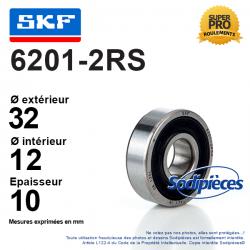 Roulement à billes 6201-2RS SKF. Double étanchéité