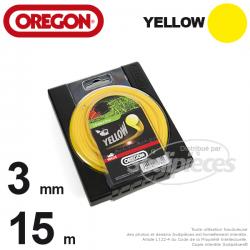 Fil Orégon Yellow rond jaune. 3 mm x 15 m pour débroussailleuse