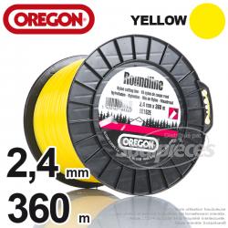 Fil Orégon Yellow rond jaune. 2,4 mm x 360 m pour débroussailleuse